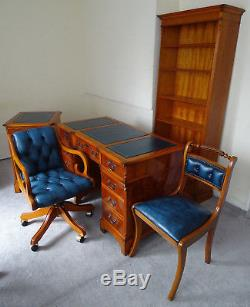 Home Office Setoffice Desk, Chesterfield Captains Chair, Chair, Cabinet, Bookcase