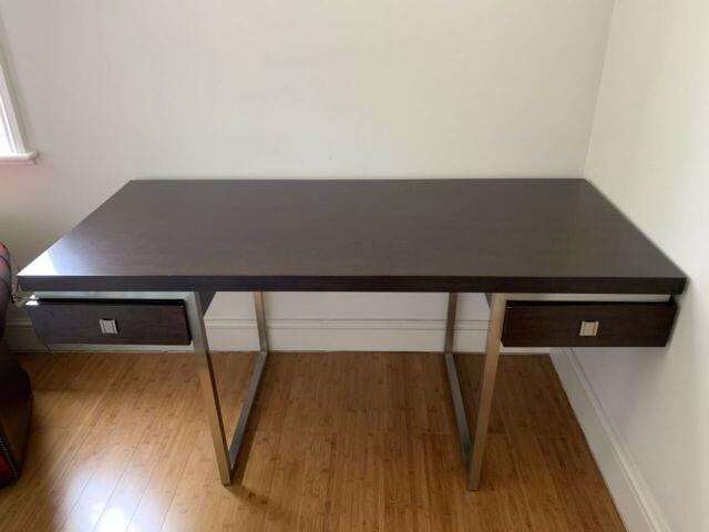Home Office Desk In Walnut Veneer With Two Drawer And Faux Leather Office Chair