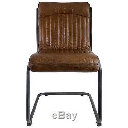 Hudson Living CAPRI Contemporary dining office metal top grain LEATHER CHAIR