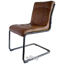 Hudson Living Contemporary CAPRI dining office metal top grain LEATHER CHAIR
