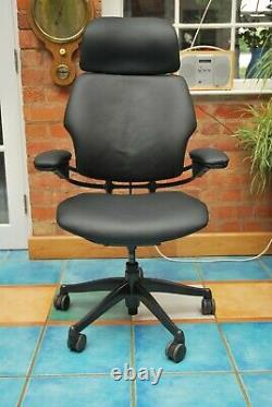 Humanscale Freedom Office Chair Black Leather Swivel Adjustable Vgc Collect/dpd