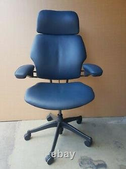 Humanscale Freedom Task Chair With Headrest Graphite Leather Hide Office