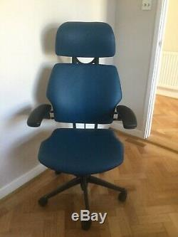 Humanscale Freedom With Headrest Blue Leather Just Upholstered