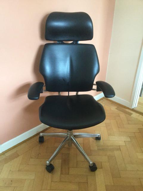 Humanscale Freedom Headrest Chrome Black Leather