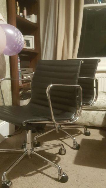 Icf Charles Eames Leather And Aluminion Office Chair With Five Leg Base