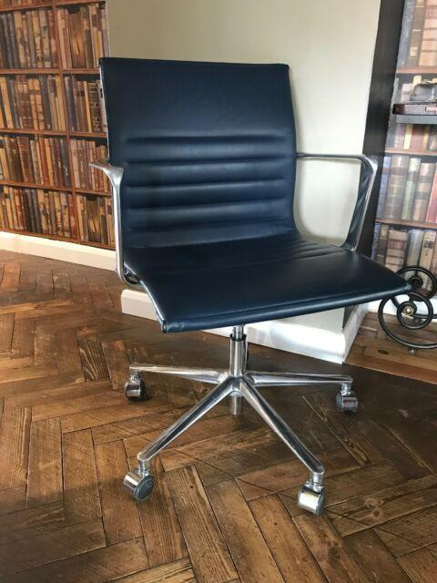 Icf Eames Swivel Chair Ea108 Smoke Blue Premium Leather Ribbed Stick Office Arm