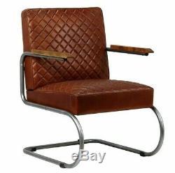 Industrial Brown Chair Vintage Leather Armchair Office Seater Metal Legs Guest