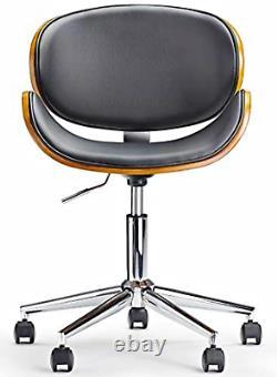 Industrial Desk Chair Ergonomic Swivel Office Seat Vintage Wood Black PU Leather