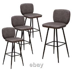 Industrial Grey 2Pcs Bar Stool Kitchen Breakfast Office Counter Faux Leather Pub