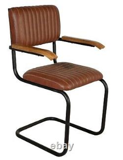 Industrial Round Pipe Chair Brown Dining Chair Home Office Restaurant Chair