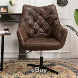 Industrial Swivel Armchair Gas Lift Faux Leather Sofa Accent Chair Office Lounge