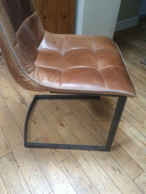 Industrial Leather Dining Office Chair With Trim (4 In Total)