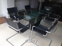 Italian Designer Matteograssi leather dining office cantilever set of 6 chairs