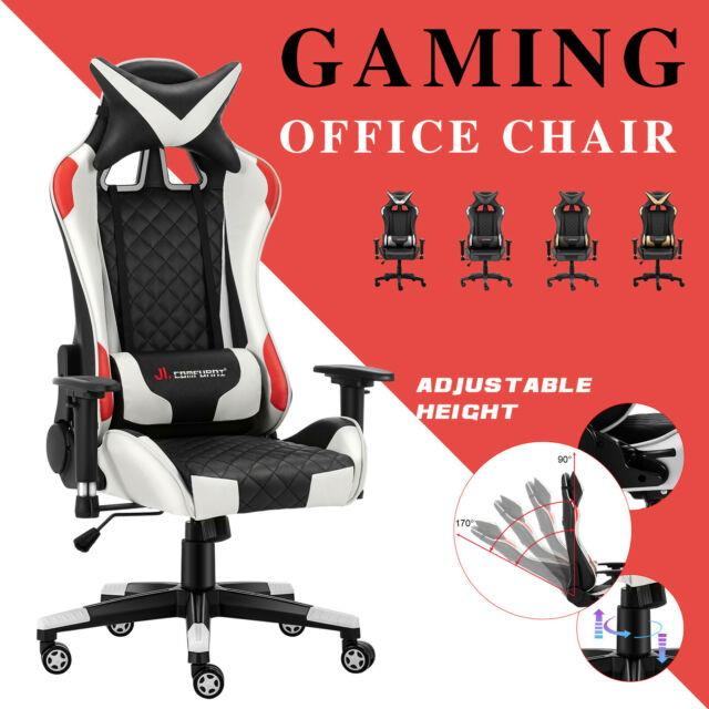 Jl Comfurni Luxury Gaming Office Chair Leather Swivel Home Computer Desk Chair