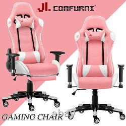 JL Comfurni Luxury Gaming Office Chair Swivel Leather Home Computer Desk Chair