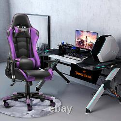 JL Comfurni Racing Gaming Chair Home Office Computer Desk Chair Swivel Leather