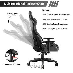 JL Comfurni Racing Gaming Chair Leather High Back Home Office Computer Chair