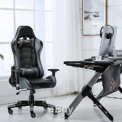 JL Comfurni Racing Gaming Office Chair Swivel Recline Leather Home Computer Desk