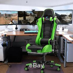JL Comfurni Reclining Office Gaming Chair Racing Sport Computer Swivel Leather