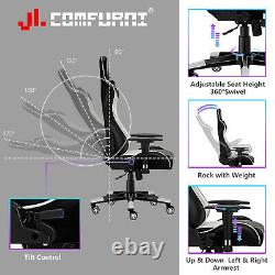 Jl Comfurni Racing Gaming Chair Leather Office Chair Adjustable Home Computer