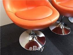 Johanson Orange Leather Ball Reception Breakout Office Chairs