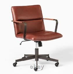 John Lewis Cooper Mid Century Swivel Leather Office Chair, Oxblood RRP £699