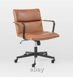 John Lewis Cooper Mid Century Swivel Leather Office Chair, Saddle RRP £699