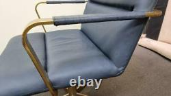 John Lewis west elm Cooper Mid-Century Leather Office Chair, Blue RRP£699 (3619)