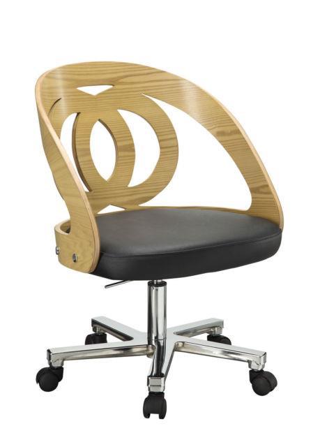 Jual Furnishings Pc606 Retro Vintage Style Curve Office Desk Chair Oak & Leather