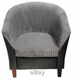 Jumbo Cord Fabric Leather Tub Chair Sofa Armchair for Dining Room Living Office