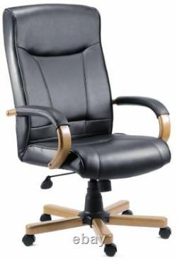 KINGSTON Luxury Light Oak Leather Executive Office Swivel Computer Chair Black