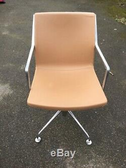 Kron Tan Brown Leather Executive Office Meeting Chair Ref A
