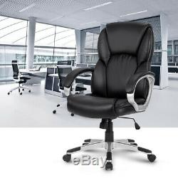 LANGRIA Mid Back Leather Office Chair Executive Swivel Computer Desk Chair Black