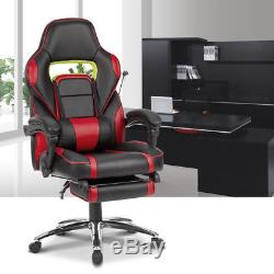 LANGRIA Reclining High-Back Leather Racing Office Desk Chair Gaming Footstool UK