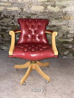 LEATHER CHESTERFIELD Directors Captains Swivel Office Desk Chair