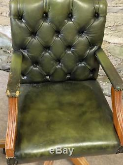 LEATHER CHESTERFIELD Directors Captains Swivel Office Desk Chair GREEN
