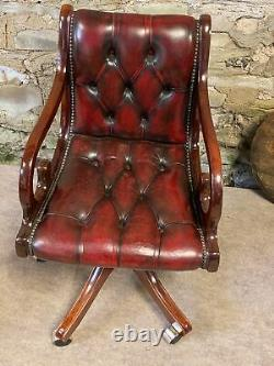 LEATHER CHESTERFIELD Directors Captains Swivel Office Desk Chair Oxblood