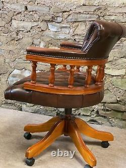 LEATHER CHESTERFIELD Directors Captains Swivel Office Desk Chair TAN