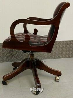 LEATHER Directors Captains Swivel Office Desk Chair Oxblood