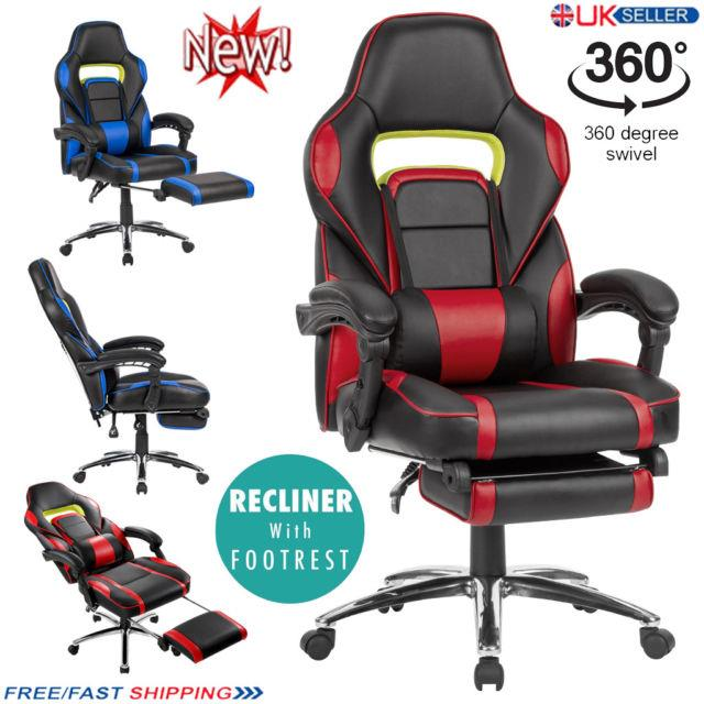 Langria Pace Reclining Leather Sports Racing Office Desk Chair Gaming Footstool