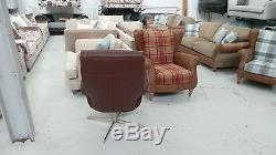 Large Brown Leather Swivel & Recline Office Chair RRP £699