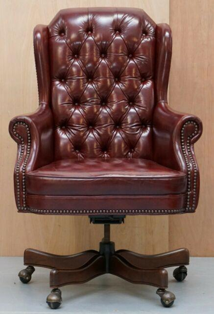 Large Chesterfield Oxblood Leather Wing Back Directors Captains Office Chair