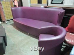 Large Designer Reception Sofa Boutique Style Purple Real Leather With Tub Chair