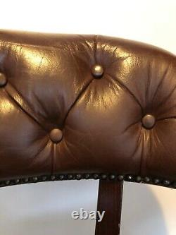 Laura Ashley Franklin Leather Captain Office Swivel Chair Chesterfield Chair