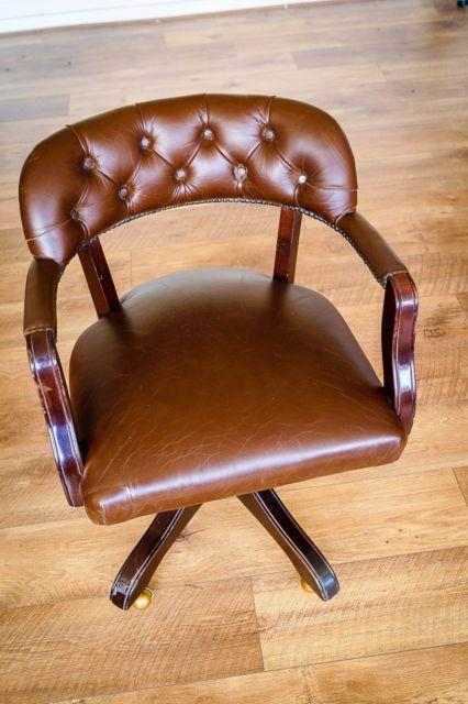 Laura Ashley Franklin Office Chair In Brown Leather, Chair Fine But Damaged Legs