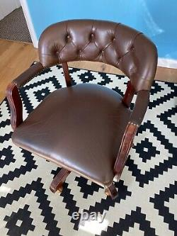 Laura Ashley Leather & Solid Wood Swivel Office Chair