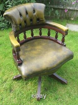 Leather Bankers Office Chair Emerald Green Very Good Condition