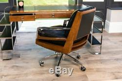 Leather Desk Chair With Chrome Frame And Chestnut Wood Details