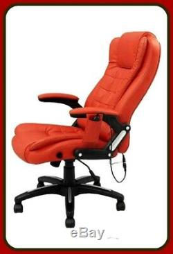 Leather Executive Gaming Computer Desk Office Swivel Reclining Massage Chair Red