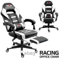 Leather Gaming Racing Chair Office Executive Recliner With Footrest Back Pillow